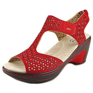 JBU by Jambu Chloe Women Open-Toe Suede Red Slingback Sandal