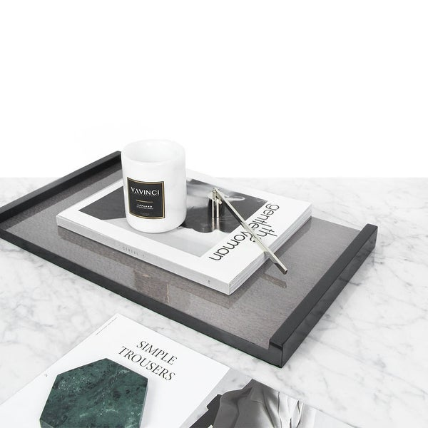 FloralGoods Modern Black Gray Wood Tray