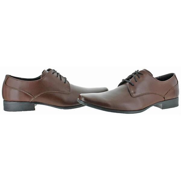 Shop Calvin Klein Mens Brodie Oxfords Leather Plain Toe Calvin Klein Brodie Brown Shoes
