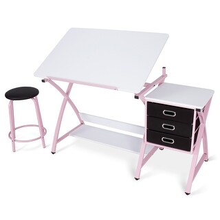 BELLEZE Modern Office Drafting and Drawing Desk w/ Padded Stool and 3 Pull-Out Drawers, Pink