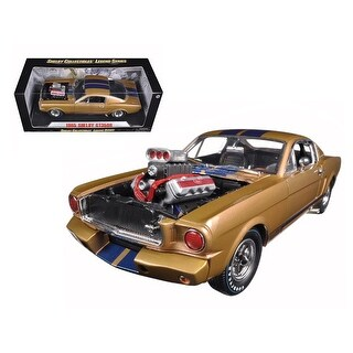 1965 Ford Shelby Mustang GT 350R Gold/Blue 1/18 Diecast Car Model by Shelby Collectibles