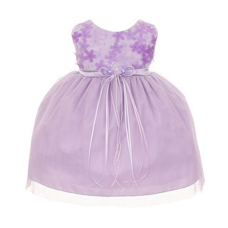 Kids Dream Baby Girls Lavender 3D Chiffon Flowers Special Occasion Dress 6-24M