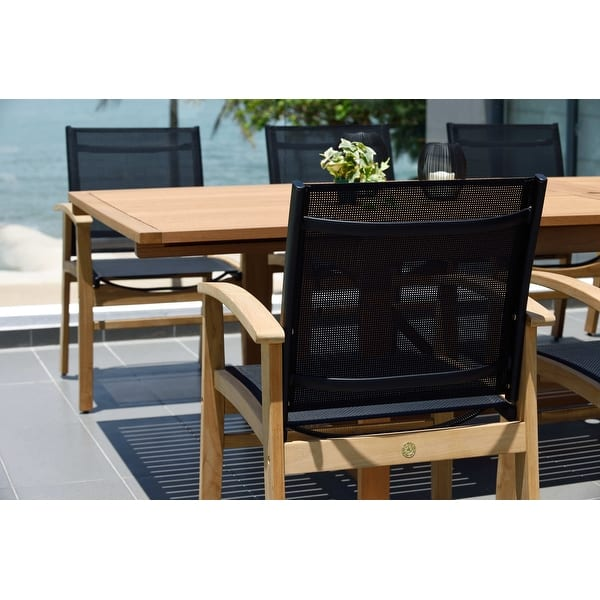 Life Style Garden 9 Piece Teak Finish Patio Dining Set Black Chairs On Sale Overstock 31027316