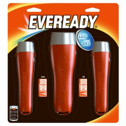Eveready EVGPM115S Ergonomic Design LED 2AA Flashlight, 3-Pack