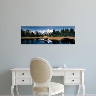 Easy Art Prints Panoramic Images's 'Moose & Beaver Pond Grand Teton National Park WY USA' Premium Canvas Art