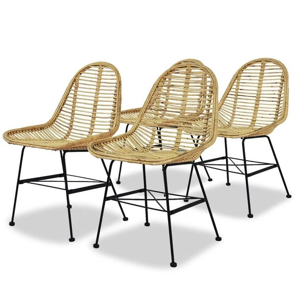 vidaXL Dining Chairs 4 pcs Natural Rattan. Opens flyout.