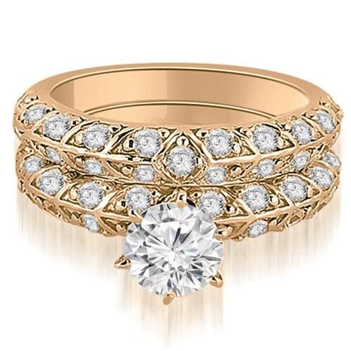 1.73 cttw. 14K Rose Gold Antique Round Cut Diamond Engagement Set