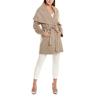 T Tahari Women's Double face Wool wrap Coat with Optional self tie Belt, Brown Sugar