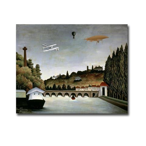 Landscape with Zeppelin by Henri Rousseau Gallery Wrapped Canvas Giclee Art (24 in x 30 in)