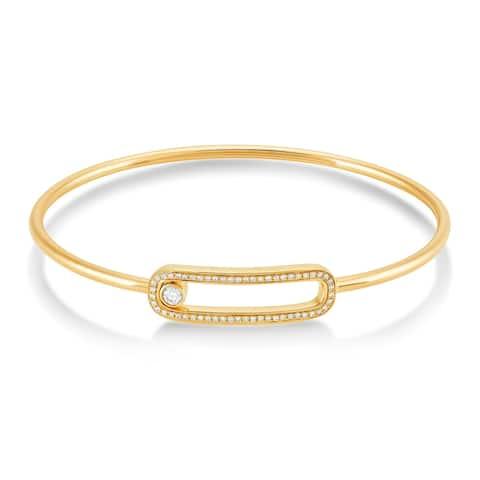 10K Gold 1/3 Carat Diamond Bangle Bracelet for Women
