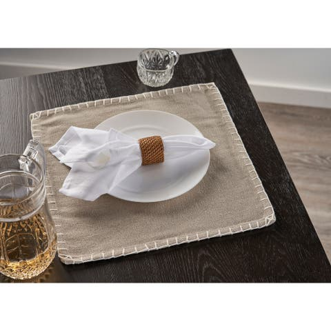 """Beige Embroidered Edge Square Place Mat - 1'3"""" x 1'3"""""""