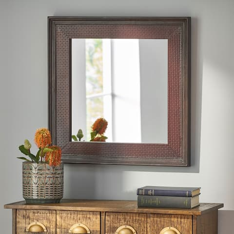 Bearden Indoor Leather Handcrafted Square Wall Mirror by Christopher Knight Home