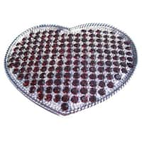 Deep Red Rhinestone Covered Heart Shaped Belt Buckle