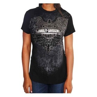 Harley-Davidson Women's Crack The Whip Embellished Short Sleeve Tee, Black