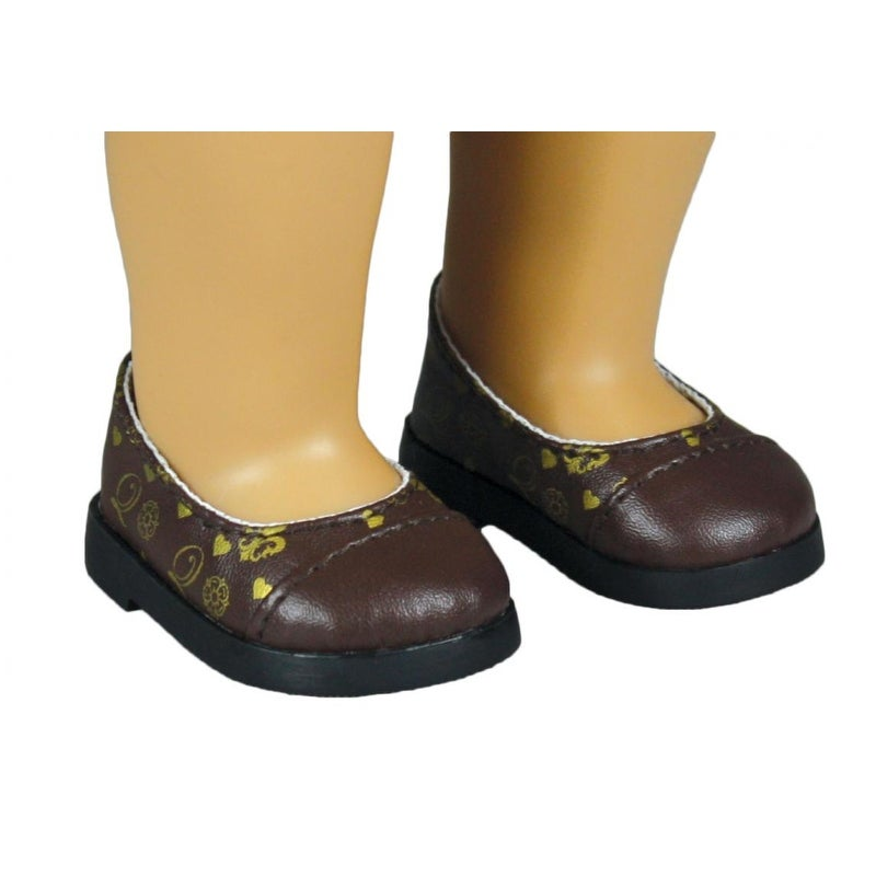 """Brown Flower Mary Jane Dress Shoes Fits 18/"""" American Girl Doll Clothes Shoes"""