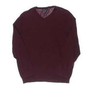 John Ashford Mens Ribbed Trim V-Neck Pullover Sweater