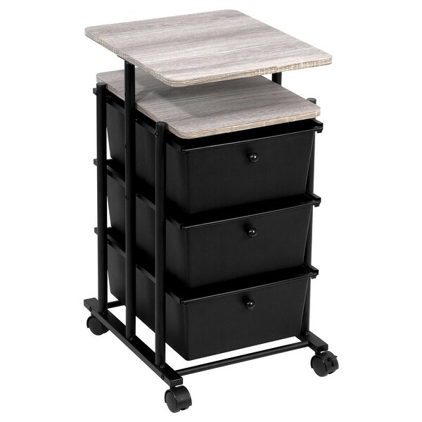 3-Drawer Cart Adj Height, Matte Black and Wood Grain Laminate Top. Opens flyout.