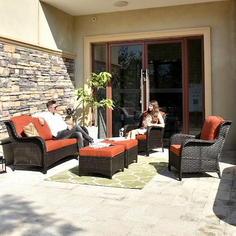 Ovios Patio Furniture Sets 5 PCs Rattan Wicker Chair Sectional Sofa Deep Seating Conversation Set with Cushions