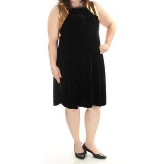 NY COLLECTION $52 Womens New 1431 Black Met/velvet Fit + Flare Dress 2X Plus B+B