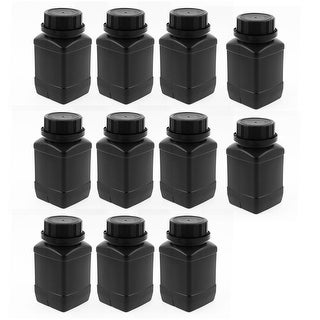 10pcs 250ml Plastic Round Wide Mouth Chemical Sample Sealed Reagent Bottle Black