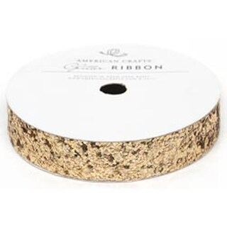 "Gold - Solid Large Glitter Ribbon .625""X3yd"