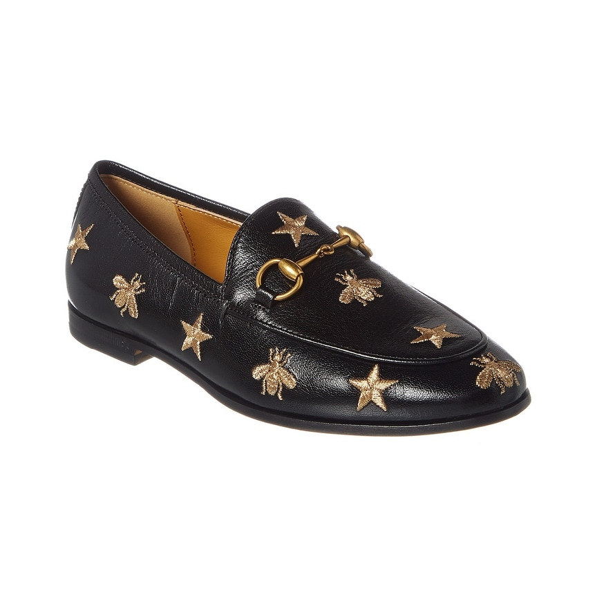 Stars Embroidered Leather Loafer