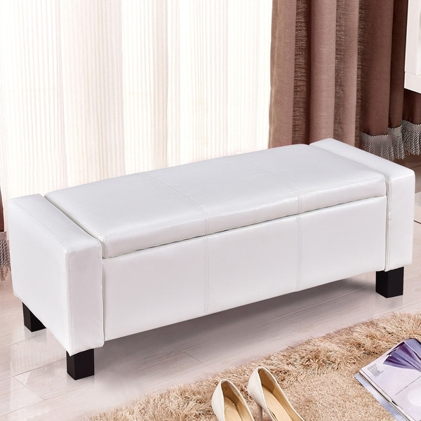 Shop Gymax White 43 Quot Pu Leather Ottoman Bed Bench Storage