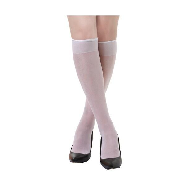 073e4f5cb Women 10 Pack Silky Knee High Sheer Reinforced Toe Socks Stockings White