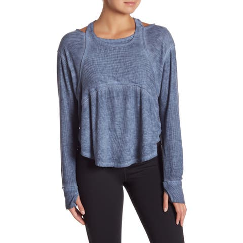 Free People Blue Size Large L Junior Zenith High-Low Knit Top