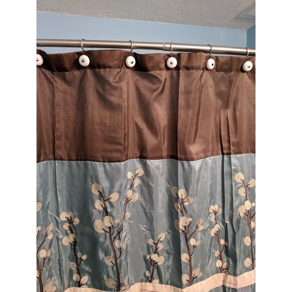 Shop Copper Grove Wakulla Flower Blue Brown Shower Curtain