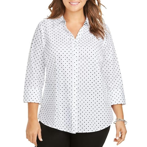 Foxcroft NYC Womens Mary Blouse Printed Office Wear - Black