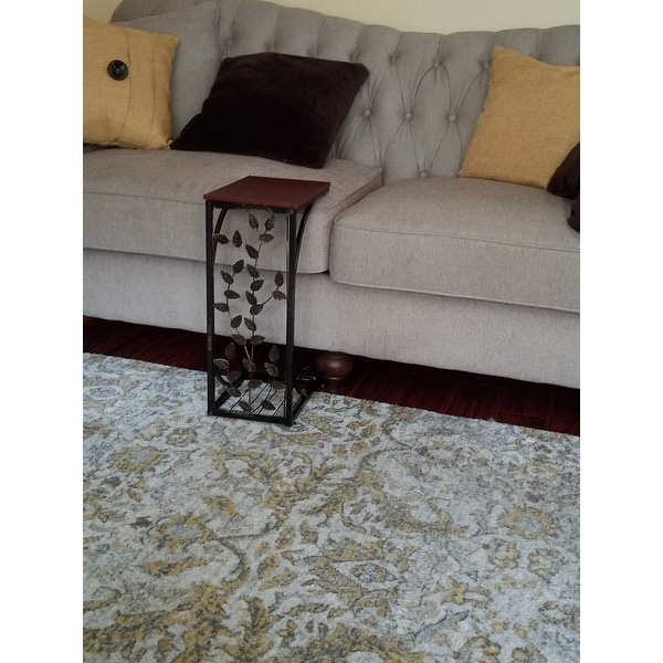Shop Sofa Side End Table, Small   Metal, Dark Brown Wood Top With Leaf  Design   C Shaped TV Tray Slides Up To Couch Chair Recliner   On Sale    Free Shipping ...