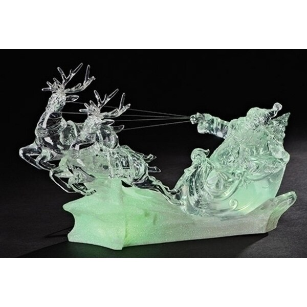 """13.5"""" Battery Operated LED Lighted Musical Santa in Sleigh Christmas Table Top Decoration - CLEAR"""