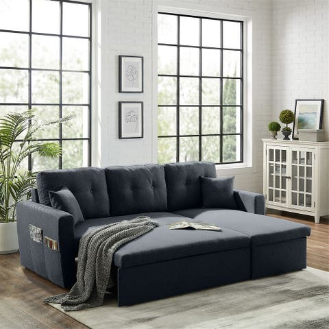 """86.6"""" Reversible Sofa-Bed with Storage Sleeper Sectional Couch"""