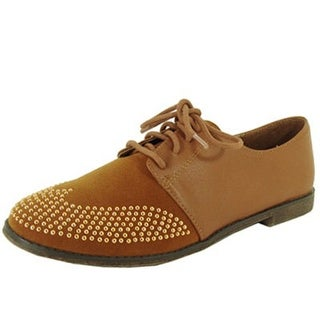 Qupid Strip-85 Studded Two Tone Lace Up Colorblock Oxford Flat Shoe