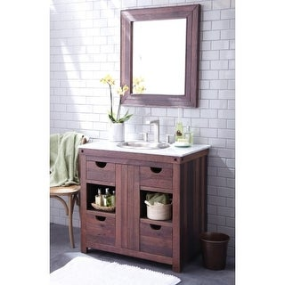 """Native Trails BNDV02 Cabernet 37"""" Free Standing Vanity Set with Wood Cabinet, Marble Top, Sink, and Mirror"""