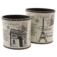 Aspire Home Accents 6705 Paris Trash Canisters (Set of 2) - Multi