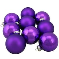 "9-Piece Shiny and Matte Purple Glass Ball Christmas Ornament Set 2.5"" (65mm)"