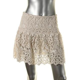 Alice + Olivia Womens Lace Metallic Flare Skirt