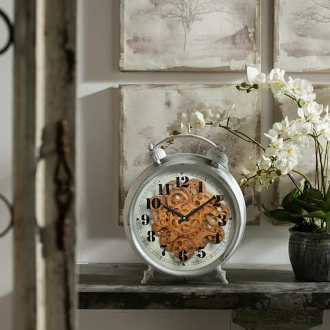 A&B Home Hereford Grey Iron Vintage Table Clock