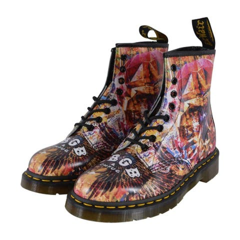 Dr. Doc Martens 1460 CBGB Skull Print Leather Ankle Boots Shoes