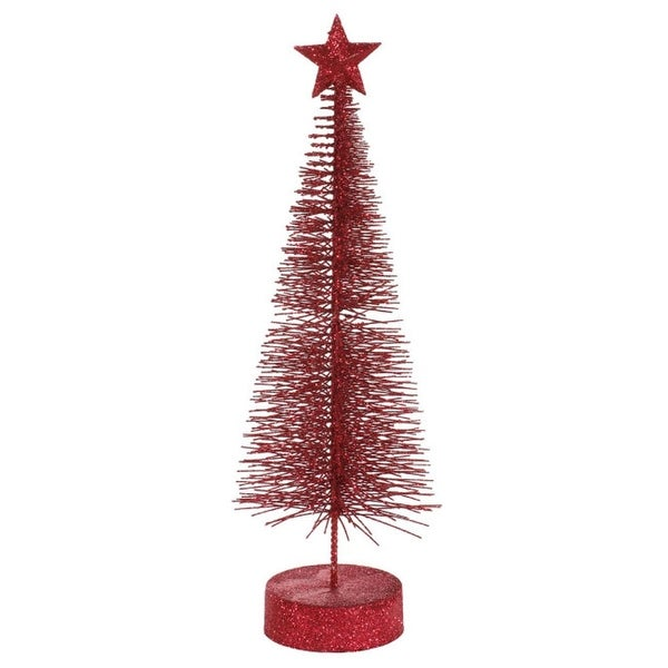 """Pack of 2 Burgundy Glitter Sisal Artificial Table Top Christmas Trees 8"""""""
