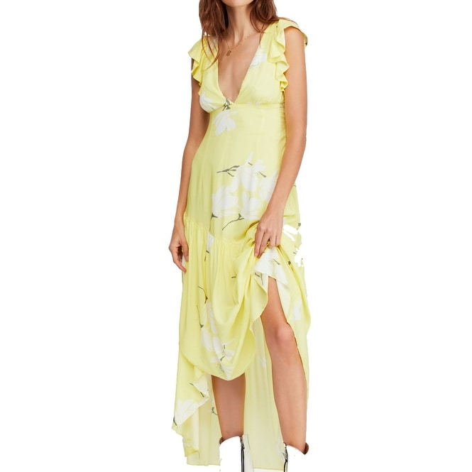Free People Womens Yellow Size 8 Ruffle Sleeve Printed Maxi Dress