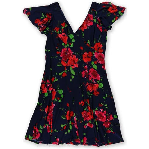 American Living Womens Floral Shift Dress, blue, 14