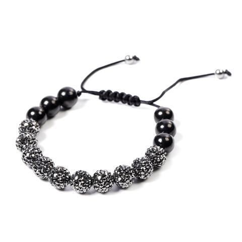 Shop LC Silvertone Hematite Black Shungite Bracelet Size 6 Inch Ct 10 - Bracelet 6''