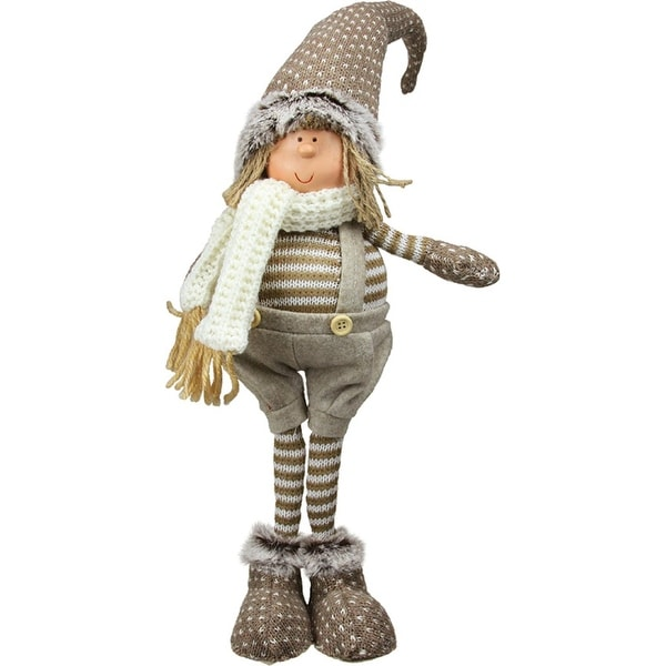 """19"""" Decorative Standing Nordic Boy in Overalls Table Top Christmas Figure"""