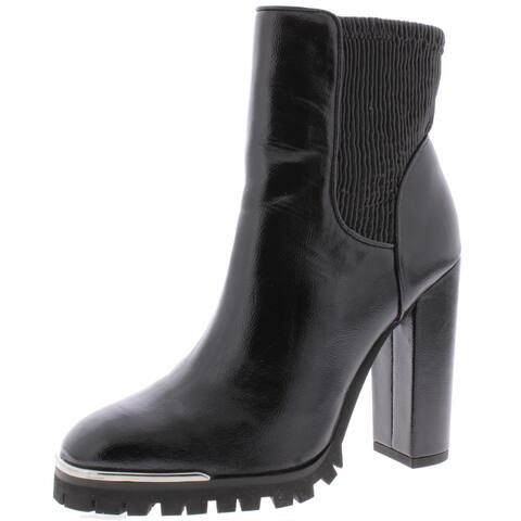 BCBGeneration Womens Leah Ankle Boots Faux Leather Pull On - Black/Black - 7 Medium (B,M)
