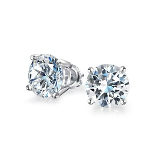 Bling Jewelry Unisex Round CZ Screwback Stud earrings 925 Sterling Silver 8mm