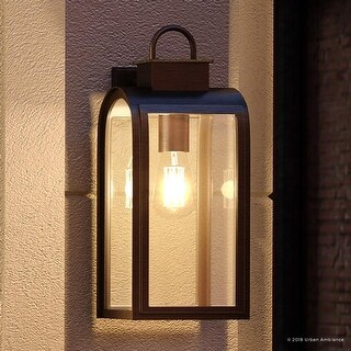 "Luxury Art Deco Outdoor Wall Light, 16""H x 8""W, with Farmhouse Style Elements, Oil Rubbed Bronze Finish by Urban Ambiance"