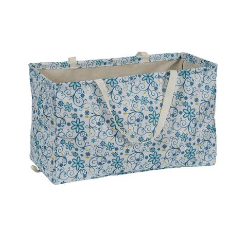 KRUSH CONTAINER Rectangle Tote Bag, Blue and Yellow Floral - 22'' x 11'' 13''